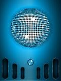 Шарик диско с шкалой на голубой металлической предпосылке портрета иллюстрация вектора