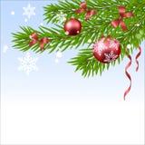 Шарик и ель рождества Иллюстрация штока