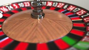Шарик колеса рулетки казино ударяет 1 одно красное E иллюстрация штока