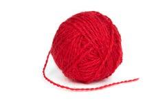 Шарик красной пряжи шерстей Стоковое Фото