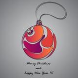 Шарик Кристмас также рождество карточки проектирует зиму вектора Предпосылка рождества с иллюстрацией шарика рождества Стоковая Фотография RF