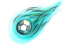 Шарик летания с огнем в сини, черно-белой Стоковые Фото