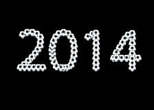 шарик 2014 на черном blackground Стоковая Фотография