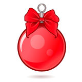 Шарик Нового Года и рождественской елки красный с причудливым смычком , выровнянная, плоскаяся иллюстрация вектора Стоковая Фотография RF