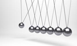 Шарик Ньютона, шарик баланса, дизайн, игрушка, предпосылка пинка шарика иллюстрации голубая, качание момента, движение, изолят, п стоковое изображение