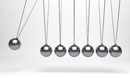 Шарик Ньютона, шарик баланса, дизайн, игрушка, предпосылка пинка шарика иллюстрации голубая, качание момента, движение, изолят, п стоковые фотографии rf