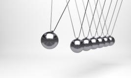 Шарик Ньютона, шарик баланса, дизайн, игрушка, предпосылка пинка шарика иллюстрации голубая, качание момента, движение, изолят, п стоковые фото