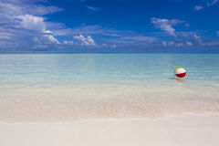 Шарик пляжа в море Стоковые Изображения