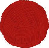 Шарик пряжи шерстей красный изолированный на белизне Иллюстрация штока