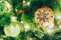 Шарик рождества на ветви рождественской елки Стоковая Фотография RF