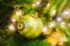 Шарик рождества на ветви рождественской елки Стоковое фото RF