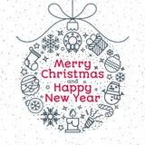 Шарик рождества состоя из линии стиля и знака значков рождества Стоковые Фото