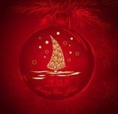 Шарик рождества с картиной золота иллюстрация штока