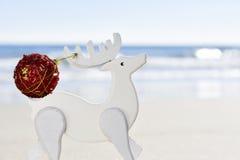 Шарик рождества в antler деревянного северного оленя на пляже Стоковое Изображение