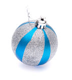шарик рождества Сине-серебра стоковые изображения rf