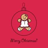 Шарик рождества с женщиной пряника Стоковое фото RF