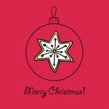 Шарик рождества с звездой иллюстрация вектора