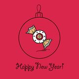 Шарик рождества с конфетой пряника бесплатная иллюстрация