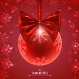 Шарик рождества с красным смычком Стоковое Фото