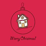 Шарик рождества с домом пряника иллюстрация штока