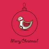 Шарик рождества с птицей иллюстрация штока