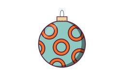 Шарик рождества с ретро цветом Бесплатная Иллюстрация