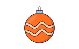 Шарик рождества с ретро цветом Иллюстрация вектора