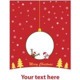 Шарик рождества с Сантой и Rudolf Стоковое Изображение