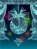Шарик рождества с смычком и занавесы в стиле Дзэн-путать в сини бесплатная иллюстрация