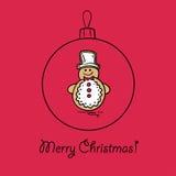 Шарик рождества с снеговиком иллюстрация штока