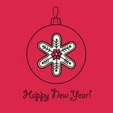 Шарик рождества с снежинкой Стоковые Фото