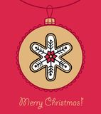 Шарик рождества с снежинкой иллюстрация вектора