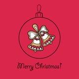 Шарик рождества с украшением иллюстрация вектора