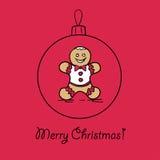 Шарик рождества с человеком пряника бесплатная иллюстрация