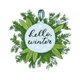 Шарик руки рождества вычерченные и дерево меха для дизайна xmas С шариками, игрушки, ягоды падуба Винтажный дизайн Xmas изолирова стоковое фото