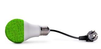 Шарик СИД Eco при электрическая штепсельная вилка изолированная на белой предпосылке Лампа сбережений Стоковые Изображения RF