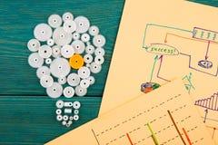 шарик составленный шестерней и эскизов диаграмм Стоковая Фотография RF