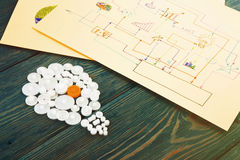 шарик составленный шестерней и эскизов диаграмм Стоковое Изображение