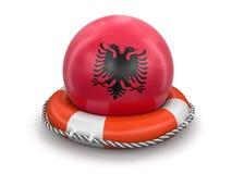 Шарик с албанским флагом на lifebuoy Стоковое Изображение RF