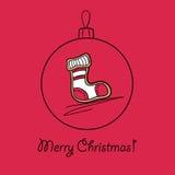 Шарик с носком рождества Стоковое Изображение RF