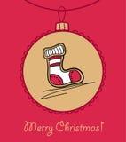 Шарик с носком рождества иллюстрация штока