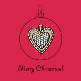 Шарик с сердцем рождества иллюстрация штока