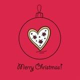 Шарик с сердцем рождества иллюстрация вектора