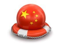 Шарик с флагом китайца на lifebuoy Стоковое Фото
