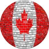 Шарик с флагом Канады в стиле кирпича Стоковое Фото