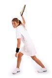 шарик ударил теннис игрока готовый бортовой для того чтобы осмотреть Стоковое Изображение