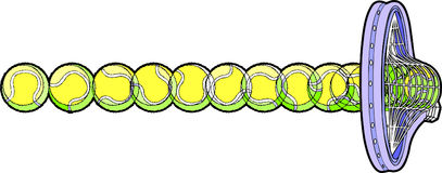 шарик ударяя теннис ракетки иллюстрация вектора