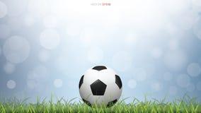 Шарик футбола футбола на поле зеленой травы с светом запачкал предпосылку bokeh иллюстрация вектора