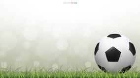 Шарик футбола футбола на поле зеленой травы с светом запачкал предпосылку bokeh иллюстрация штока