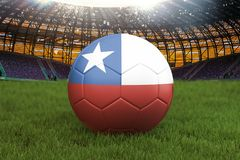 Шарик футбольной команды Чили на большой предпосылке стадиона Концепция конкуренции команды Чили Флаг Чили на турнире команды шар иллюстрация вектора